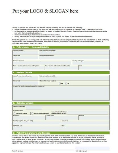 free health insurance claim template
