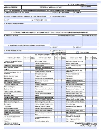 free medical history form template
