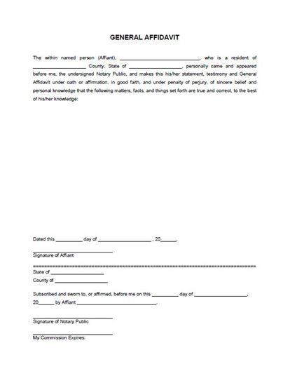 Free General Affidavit Form Template
