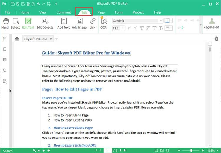 Getting Started with iSkysoft PDF Editor for Windows
