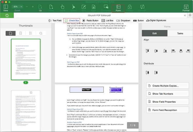 Add Check Box in PDF forms