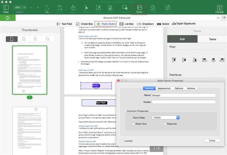 Add Radio Button in pdf form