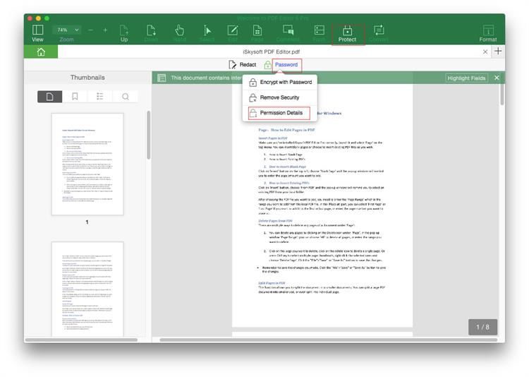 Change PDF permissions