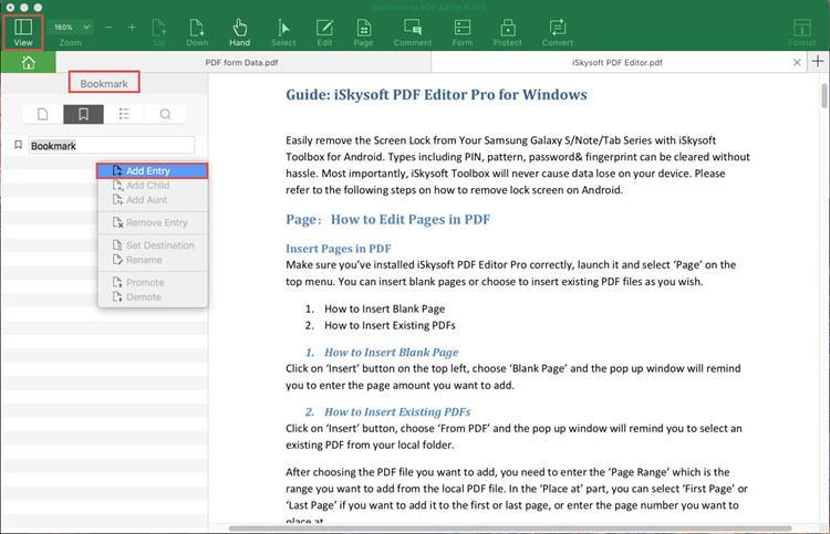 create bookmark in pdf
