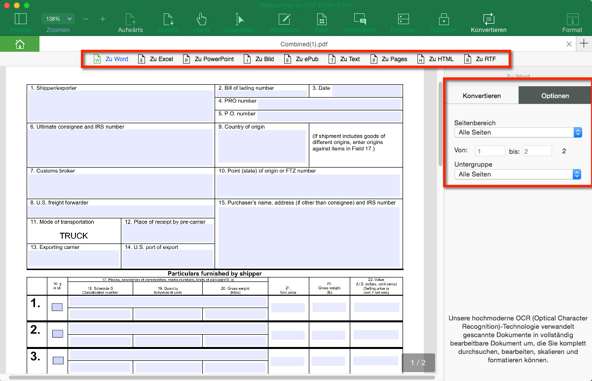 umwandlung pdf in word