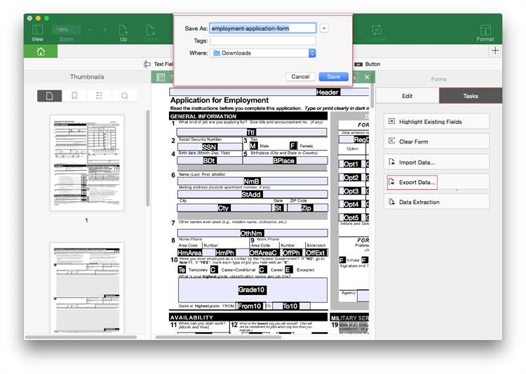 export form data