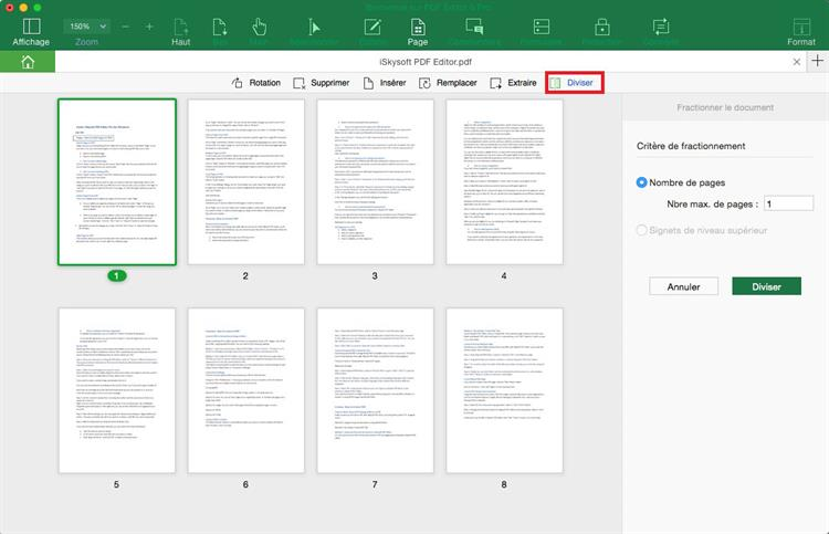 how to split pdf pages for toc mac