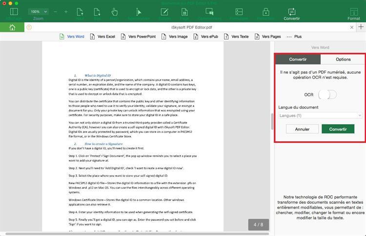 convertir le pdf scanné