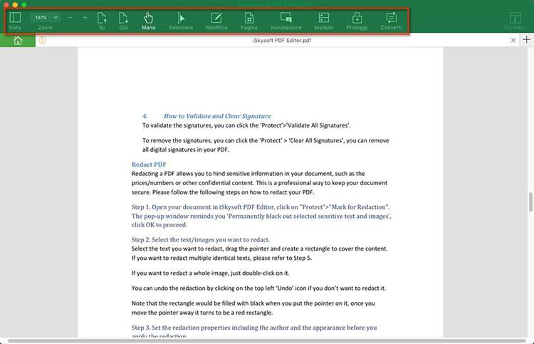 iskysoft pdf editor toolbar