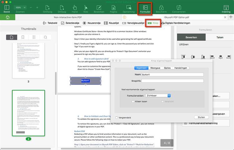 Add Button in pdf form