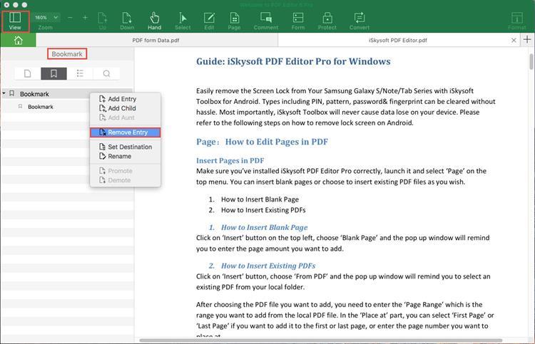 remove pdf bookmark