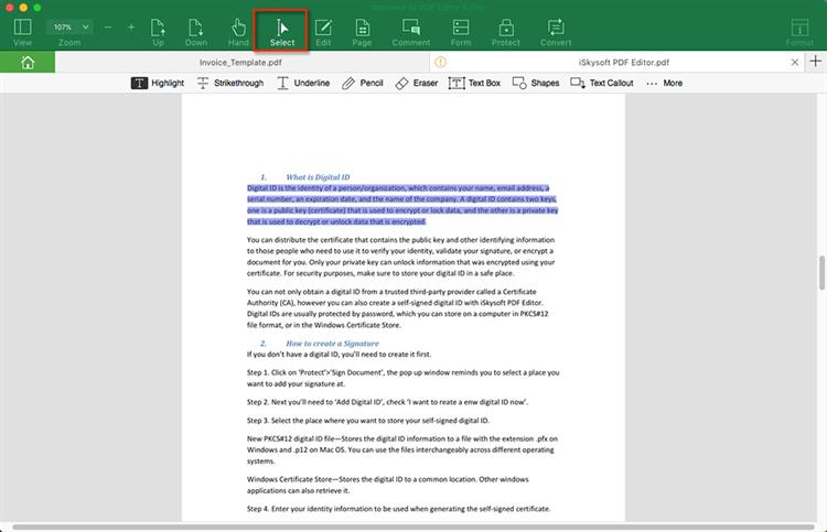 Selecting Text in PDF