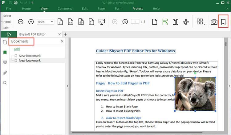 add pdf bookmark