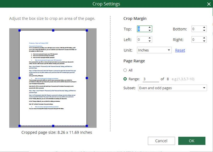 crop pdf settings