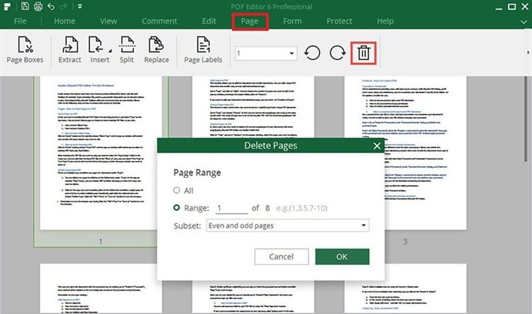 delete pages in pdf