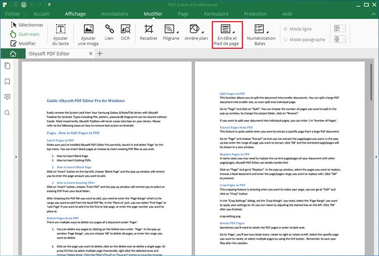 add header and footer to pdf