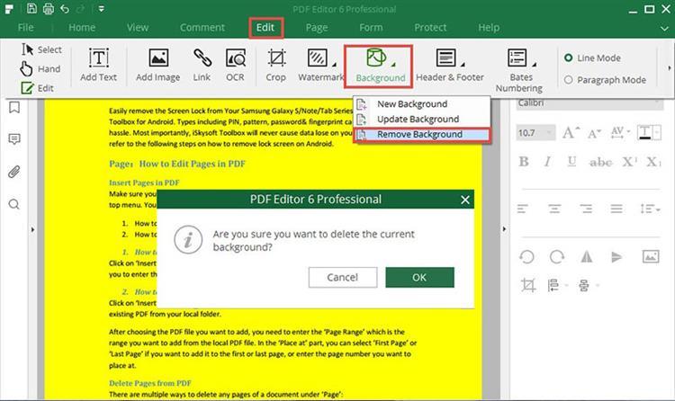 remove pdf background