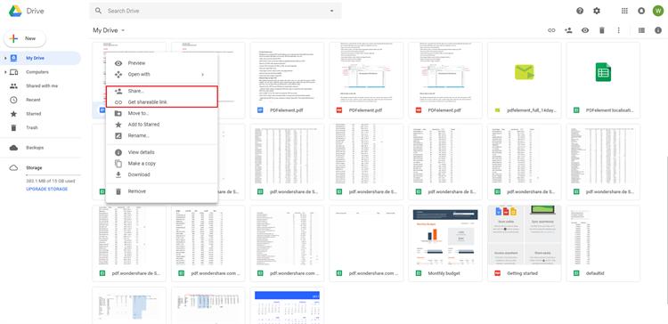 google drive share pdf file online
