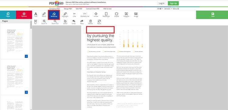 edit pdf in pdf2go