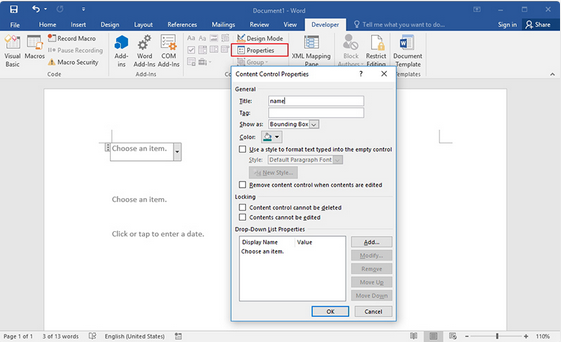 how to make a fillable form in word