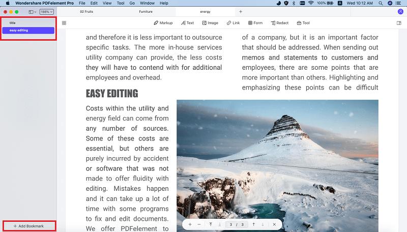 aggiungi segnalibri al pdf