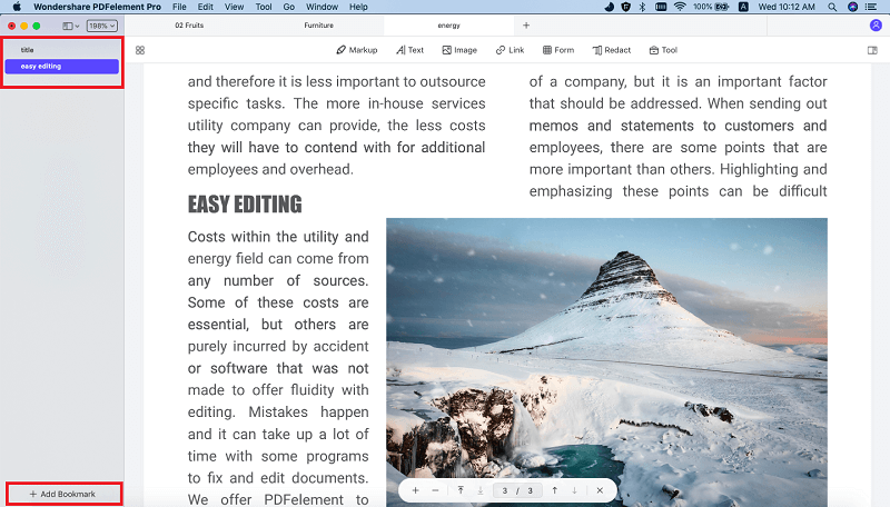 bookmark in pdf