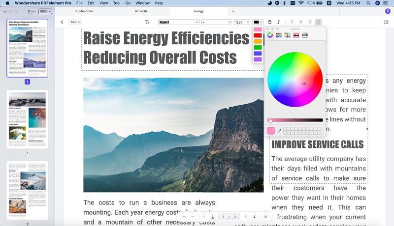 change pdf font color