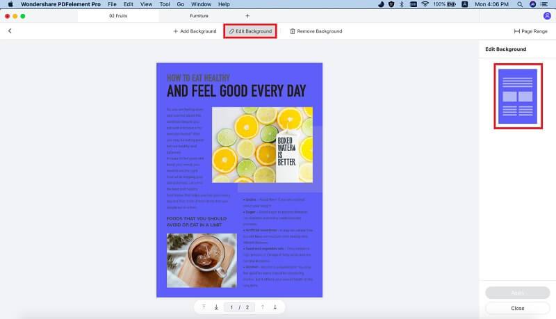 change pdf background color