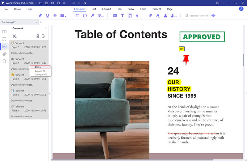 remove markups from pdf