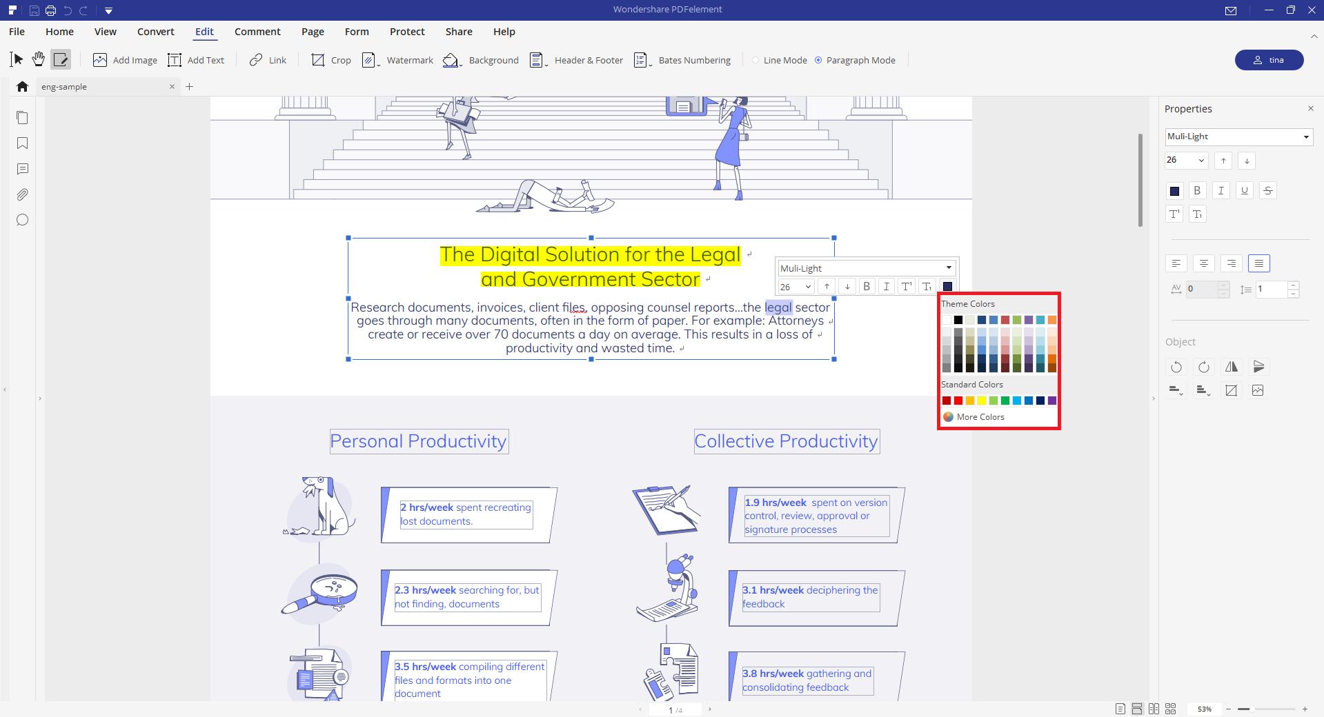 edit pdf text color
