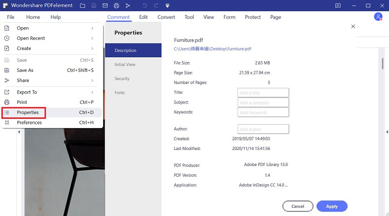 add pdf metadata on windows