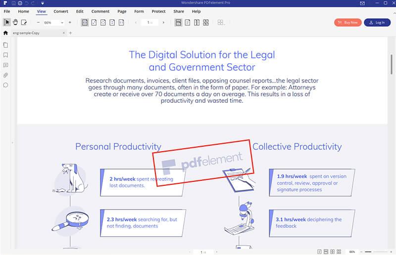 rimuovere la filigrana pdf sulle finestre