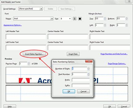 adobe pdf bates numbering