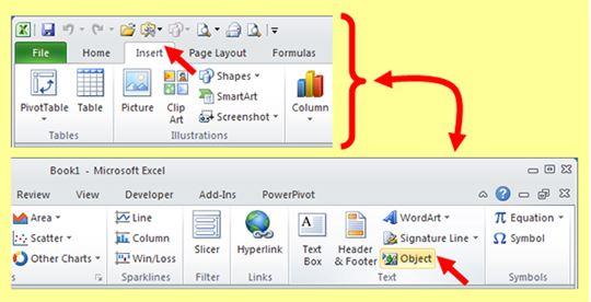 insert pdf into excel 2010