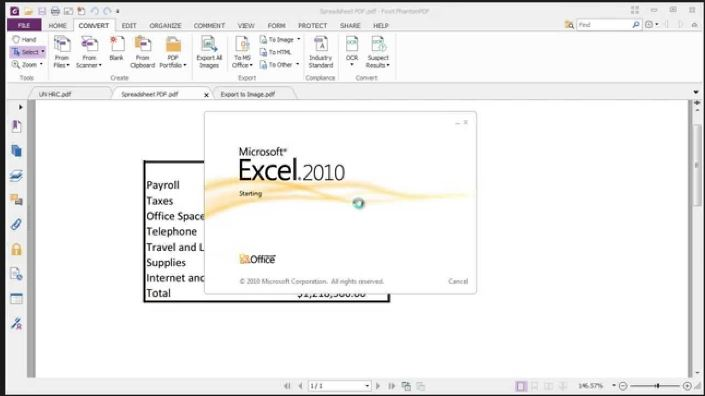 convert pdf to excel using foxit