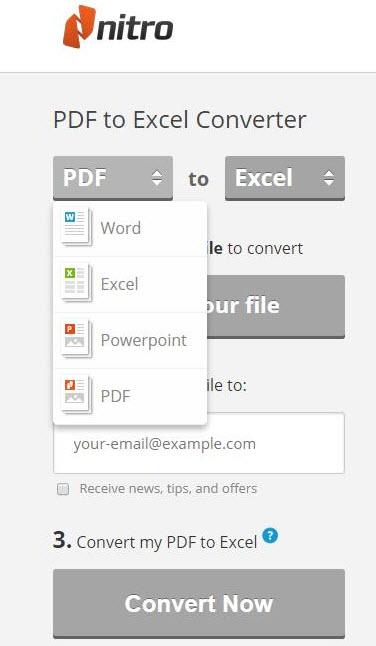 nitro pdf to excel
