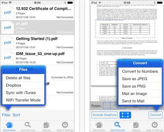 convert pdf to numbers on ipad