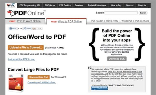Pdf Online Is Another Pdf Converter Which Is Compatible With Word And Can Convert Them To Pdf Again It Does Not Need An Email Address But Makes The New