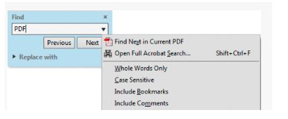 search text in pdf with adobe