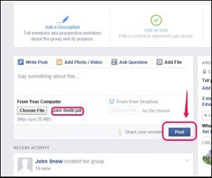 share pdf on facebook page