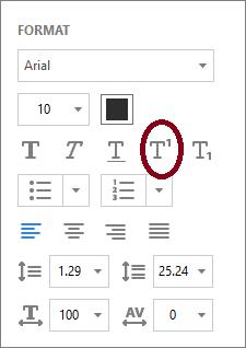 superscript text in pdf