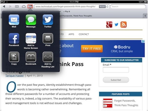 ipad bookmark